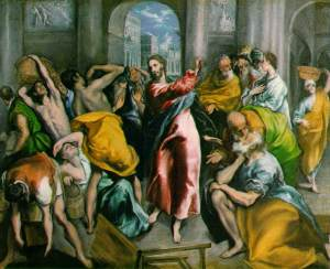 Jesus drives out the moneychangers