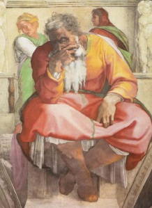 Jeremiah on the Sistine Chapel ceiling, by Michelangelo