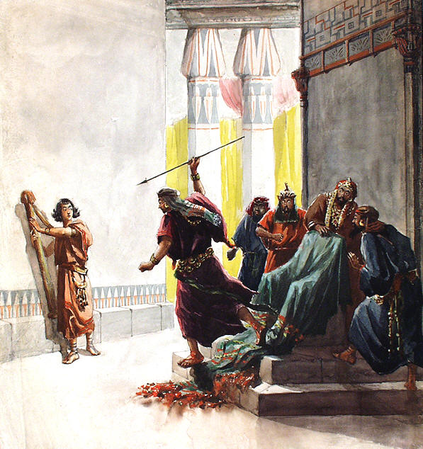 Image result for Jonathan and David make a covenant of friendship. Saul becomes jealous of David and tries to kill him.