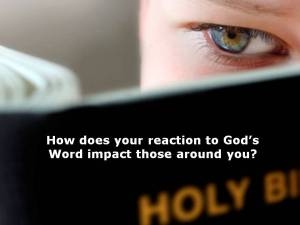 How doe your reaction to Gods Word impact your world